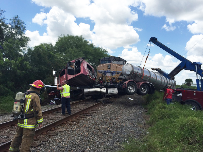 Vehicle and Train Collision Incident Management by La Feria Wrecker Service in Pharr, Texas